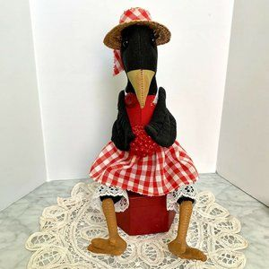 Vtg Primitive Kitchen Black Crow Shelf Sitter
